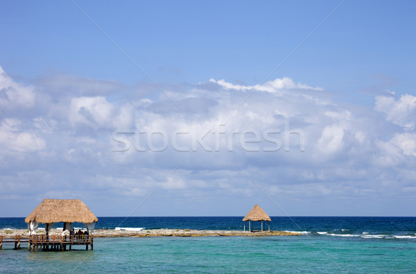 木製 ドック カリビアン 海 半島 メキシコ ストックフォト © zittto