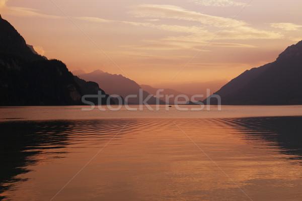 swiss lake sunset Stock photo © zittto