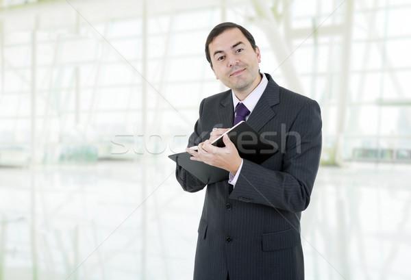 Işadamı mutlu kitap ofis iş finanse Stok fotoğraf © zittto