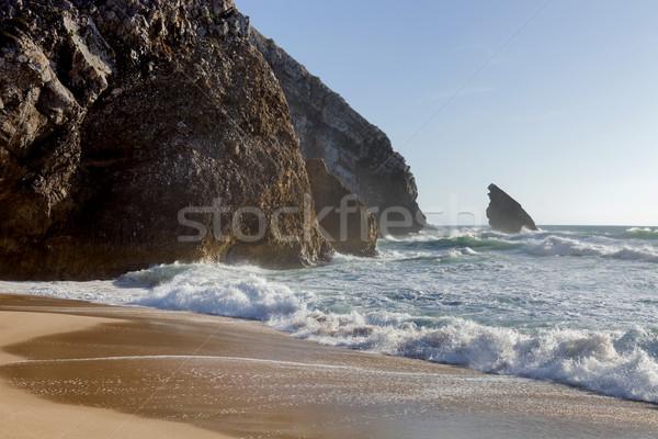 Güzel plaj güney Portekiz gökyüzü güneş Stok fotoğraf © zittto