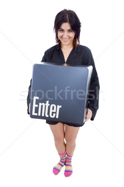 Belépés kulcs fiatal gyönyörű nő nő mosoly Stock fotó © zittto
