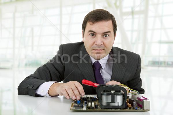 Placa-mãe computador engenheiro trabalhando escritório negócio Foto stock © zittto
