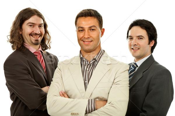 Сток-фото: команда · три · деловых · людей · изолированный · белый · бизнеса