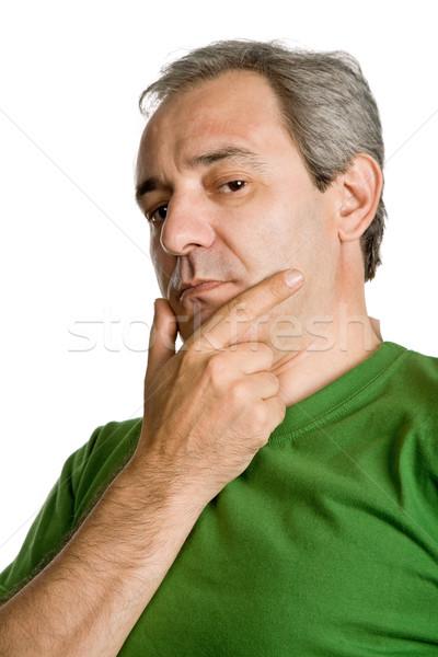 Düşünme olgun gündelik adam portre yalıtılmış Stok fotoğraf © zittto