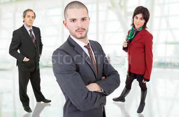 Iş ekibi genç ofis iş gülümseme toplantı Stok fotoğraf © zittto