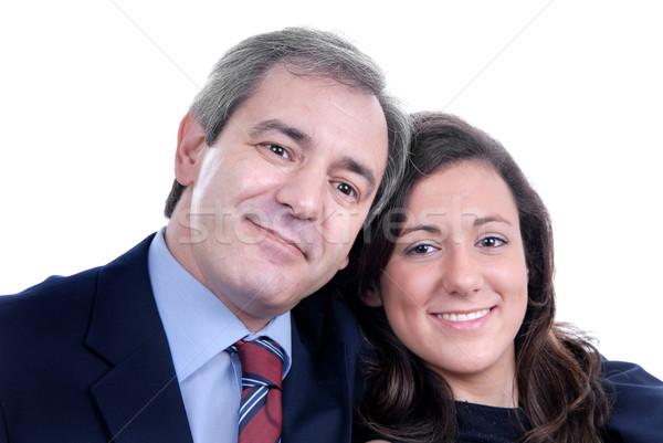 Gyengédség üzletember nő együtt ölelés mosoly Stock fotó © zittto