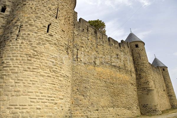 ősi erődítmény déli Franciaország épület biztonság Stock fotó © zittto
