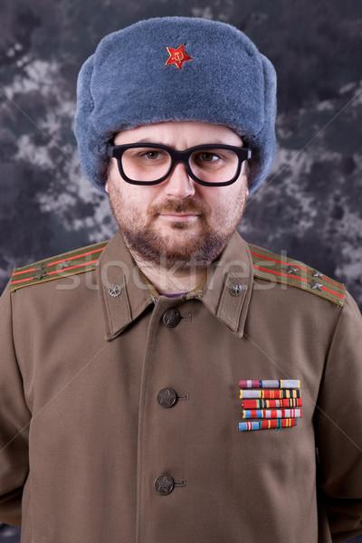 русский молодым человеком военных студию портрет черный Сток-фото © zittto