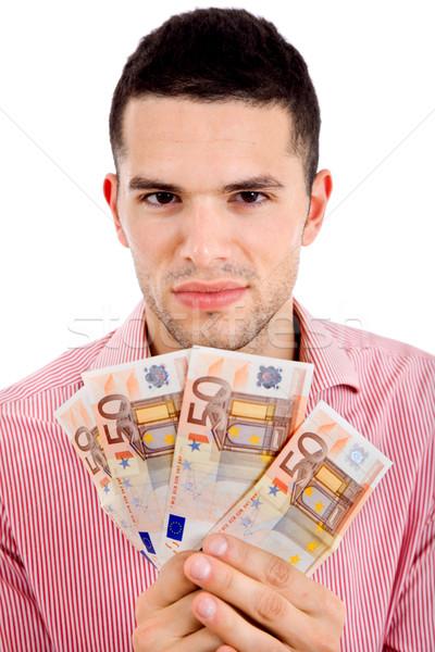 Geld jonge toevallig man bank euro Stockfoto © zittto