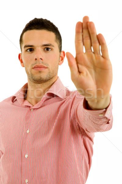 ストックフォト: 停止 · 若い男 · 手 · 顔 · 男