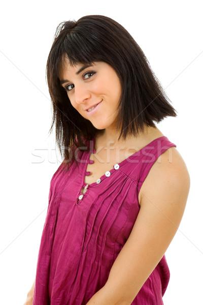 Kadın genç güzel bir kadın portre yalıtılmış beyaz Stok fotoğraf © zittto