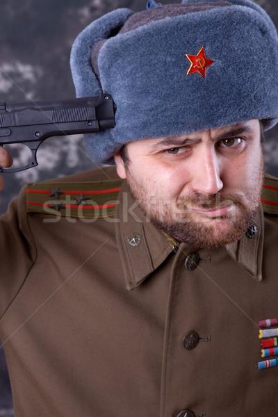 самоубийства молодым человеком русский военных студию пушки Сток-фото © zittto