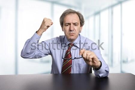 Homem de negócios maduro secretária isolado branco negócio Foto stock © zittto