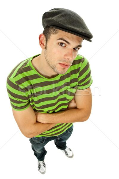 Félénk férfi fiatal lezser egészalakos izolált Stock fotó © zittto