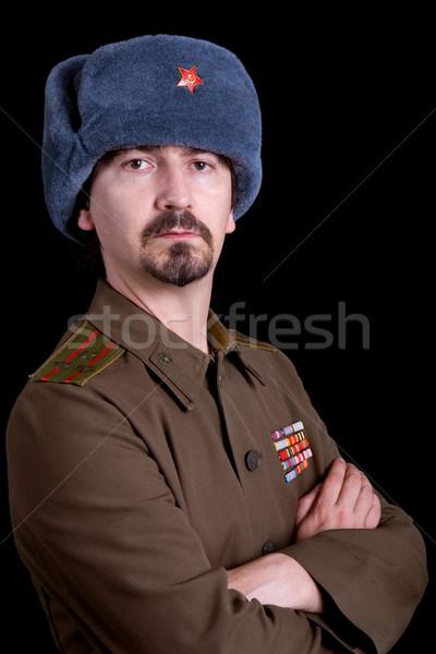 Orosz fiatalember katonaság stúdió portré fekete Stock fotó © zittto
