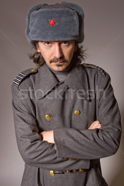 Russisch militaire jonge man studio foto Rood Stockfoto © zittto
