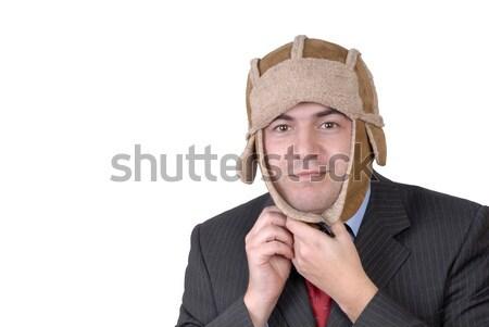 şapka genç portre garip yalıtılmış beyaz Stok fotoğraf © zittto