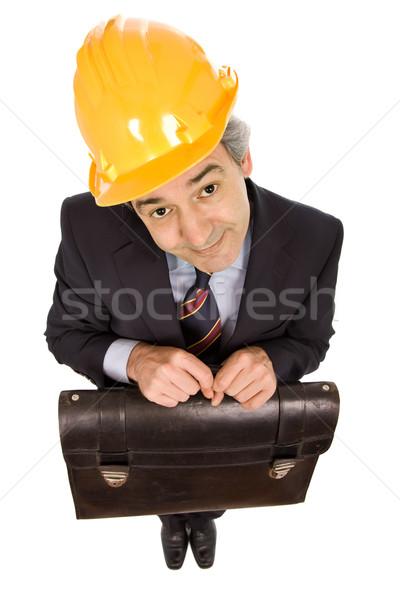 ストックフォト: エンジニア · 黄色 · 帽子 · スーツケース · 孤立した · 白