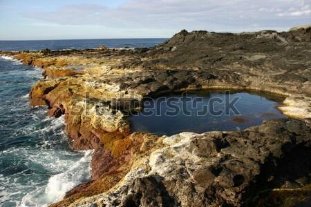 Part tengerparti kövek dél Portugália fal Stock fotó © zittto