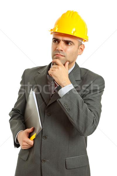 Ingeniero amarillo sombrero aislado blanco trabajo Foto stock © zittto