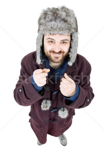 Dom man jonge toevallig geïsoleerd Stockfoto © zittto