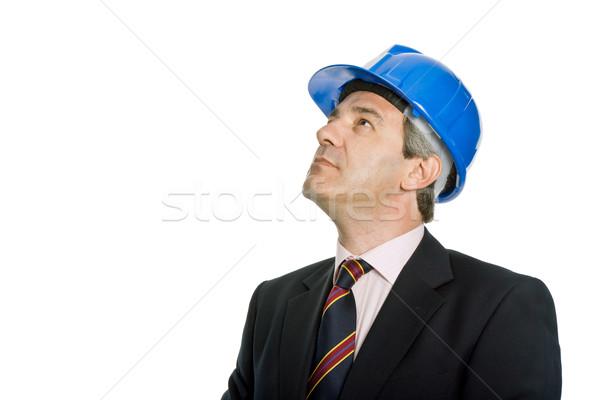 инженер синий Hat изолированный белый строительство Сток-фото © zittto