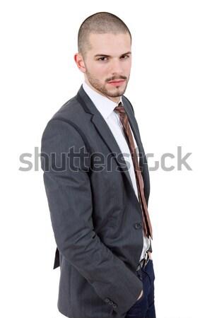Félénk fickó érett üzletember izolált fehér Stock fotó © zittto