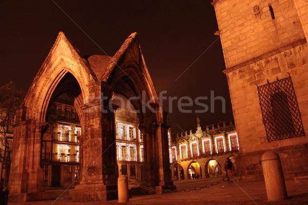 Noapte arhitectura veche oraş biserică culoare gotic Imagine de stoc © zittto