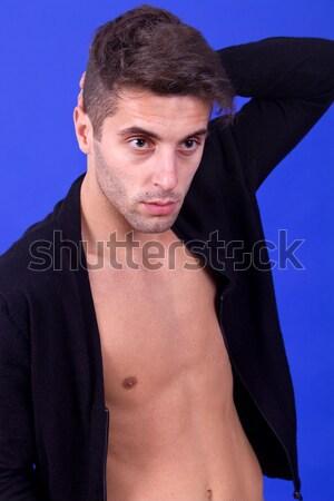 Pele jovem casual nu homem azul Foto stock © zittto