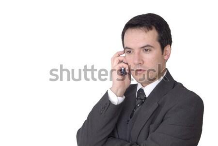 Hívás fiatalember telefon fehér mosoly üzletember Stock fotó © zittto
