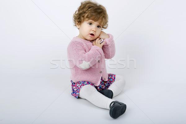 молодые ребенка портрет серый девушки счастливым Сток-фото © zittto