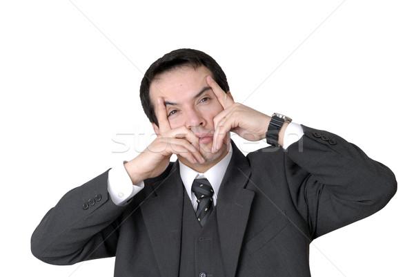 Baş ağrısı endişeli iş adamı portre beyaz iş Stok fotoğraf © zittto