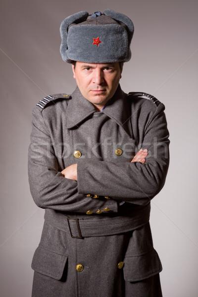 Foto d'archivio: Russo · militari · giovane · studio · foto · rosso
