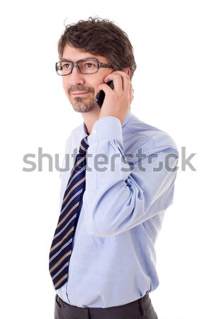 Teléfono jóvenes hombre de negocios aislado negocios ejecutivo Foto stock © zittto