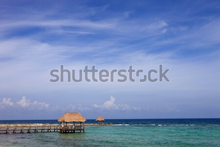 Stockfoto: Houten · dok · caribbean · zee · schiereiland · Mexico