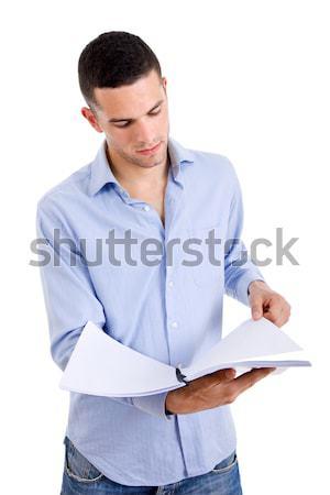 Stockfoto: Student · jonge · toevallig · man · boek · witte