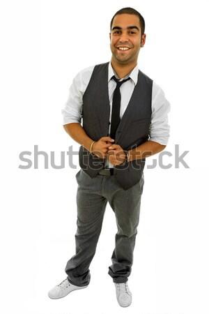 Mutlu genç iş adamı yalıtılmış beyaz Stok fotoğraf © zittto