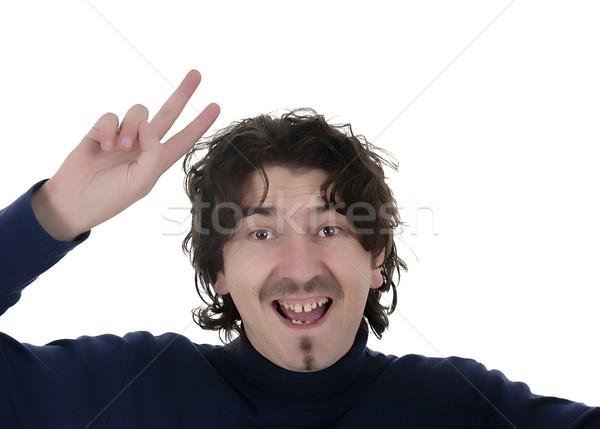 Portret jonge kaukasisch man dom witte Stockfoto © zittto