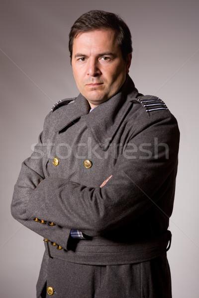 Katona fiatalember orosz katonaság stúdió kép Stock fotó © zittto