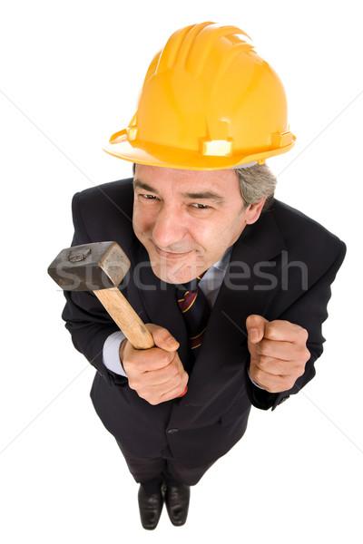 Ingeniero martillo aislado blanco hombre Foto stock © zittto