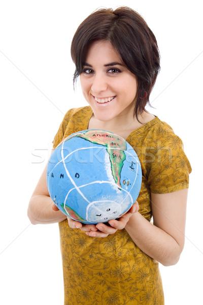 world in her hands Stock photo © zittto