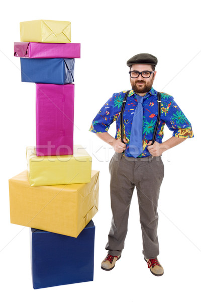 セールスマン 幸せ 愚かな ボックス 孤立した 白 ストックフォト © zittto
