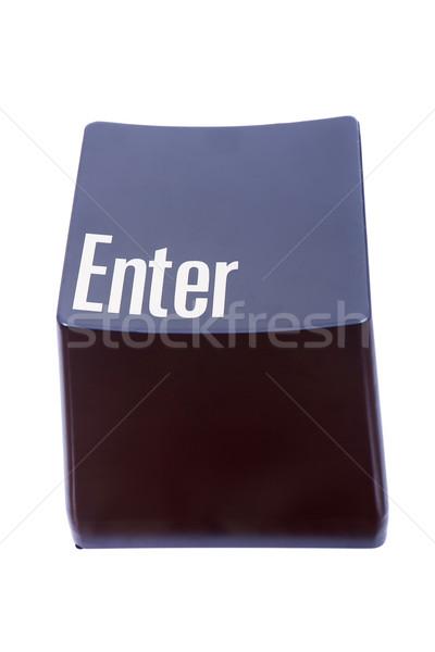 Belépés kulcs számítógép billentyűzet közelkép izolált fehér Stock fotó © zittto