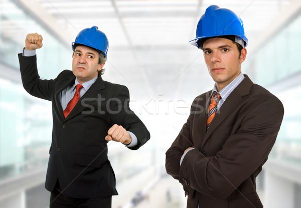 öfke iki mühendisler mavi şapka ofis Stok fotoğraf © zittto