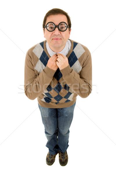 Dom leraar geek geïsoleerd mode Stockfoto © zittto