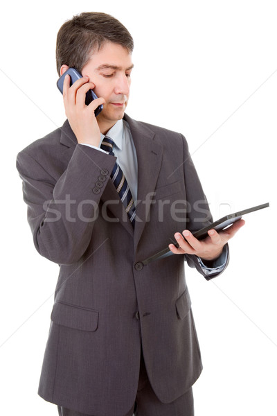 Zakenman touch telefoon geïsoleerd business Stockfoto © zittto