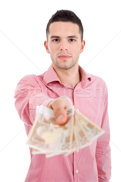 Soldi giovani casuale uomo finanziare euro Foto d'archivio © zittto
