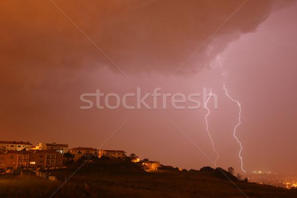 Blitz Stadt nördlich Portugal Himmel Natur Stock foto © zittto