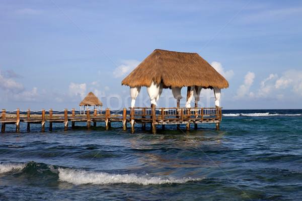 Bois quai Caraïbes mer péninsule Mexique Photo stock © zittto