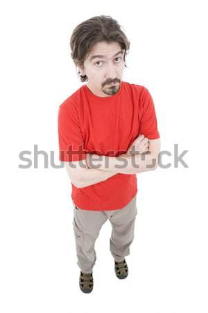 Férfi egészalakos fiatal lezser fehér mosoly Stock fotó © zittto